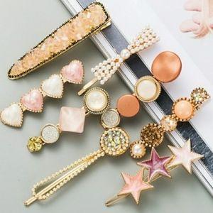 Pearl & Druzy Star Hair Bow Clips